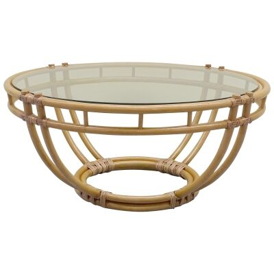 Raffles Glass Topped Bamboo Rattan Round Coffee Table, 103cm, Natural