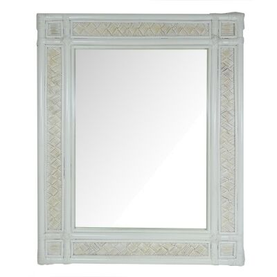 Cardiff Bamboo Rattan Frame Wall Mirror, 100cm, White Wash