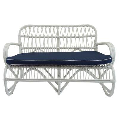 Douglas Bamboo Rattan Sofa, 2 Seater, White
