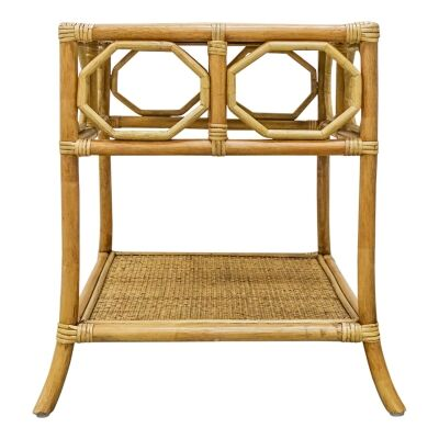 Douglas Bamboo Rattan Side Table, Toffee