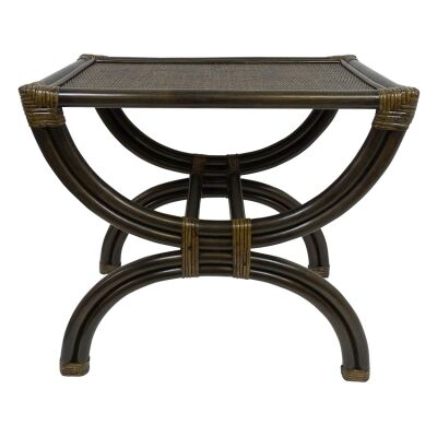 Emley Bamboo Rattan Side Table, Tobacco