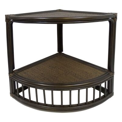 Fergis Bamboo Rattan Corner Side Table, Cigar