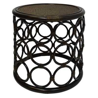 Zoie Bamboo Rattan Round Side Table, Tobacco