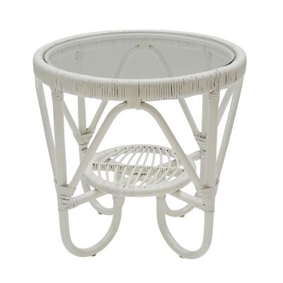 Monash Glass Topped Bamboo Rattan Side Table, White