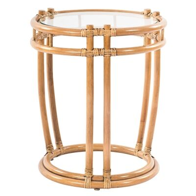 Nassau Bamboo Rattan Round Side Table, Toffee