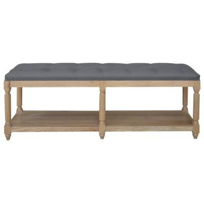 Jody Oak Timber Ottoman Bench with Tufted Linen Seat, 150cm, Natural Oak / Charcoal
