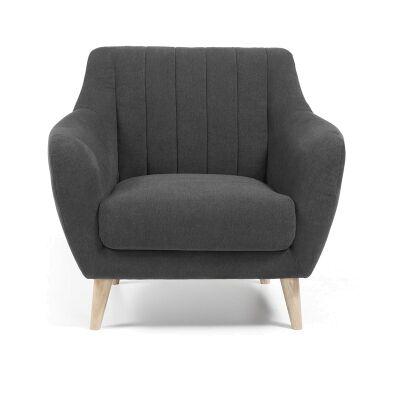 Olya Fabric Upholstered Armchair - Dark Grey