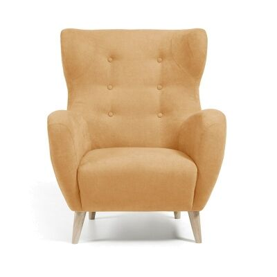 Pasha Fabric Upholstered Wingback Armchair - Mustard