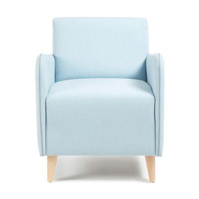 Nicola Fabric Lounge Armchair, Light Blue