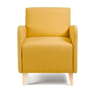 Nicola Fabric Lounge Armchair, Mustard
