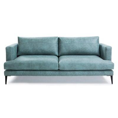 Bellavista Quilted Fabric Sofa, 3 Seater, Turquoise