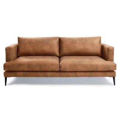 Bellavista Quilted Fabric Sofa, 3 Seater, Oxide Brown
