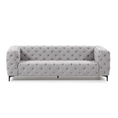 Shanay Tufted Fabric Sofa, 3 Seater, Light Grey