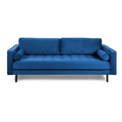 Romy Velvet Fabric Sofa, 2 Seater, Dark Blue