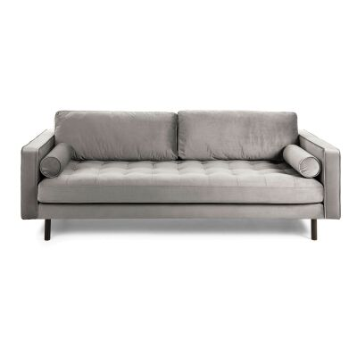 Romy Velvet Fabric Sofa, 3 Seater, Grey
