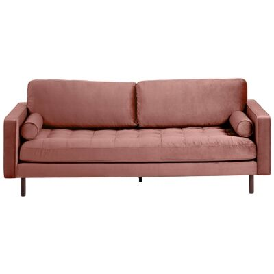 Romy Velvet Fabric Sofa, 3 Seater, Blush