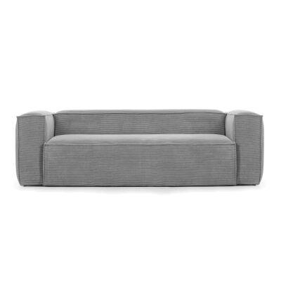 Lorton Corduroy Fabric Sofa, 3 Seater, Grey