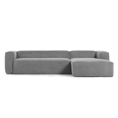 Lorton Corduroy Fabric Corner Sofa, 2 Seater with RHF Chaise, Grey