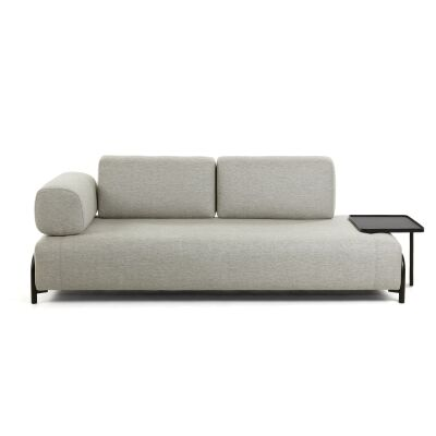 Meomo Fabric Module Sofa, with Armrest & Large Tray, 3 Seater, Beige