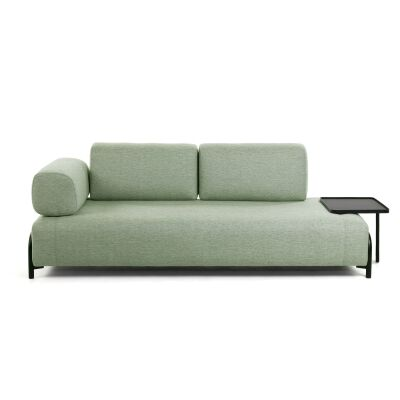 Meomo Fabric Module Sofa, with Armrest & Large Tray, 3 Seater, Green