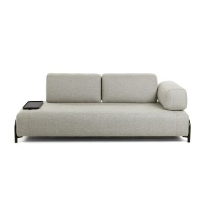 Meomo Fabric Module Sofa, with Armrest & Small Tray, 3 Seater, Beige