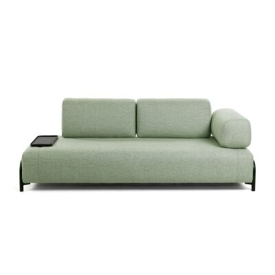 Meomo Fabric Module Sofa, with Armrest & Small Tray, 3 Seater, Green
