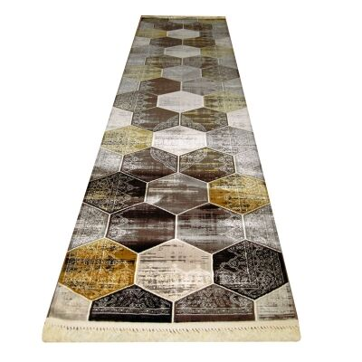 Apollo Hexago Modern Runner Rug, 80x300cm, Brown
