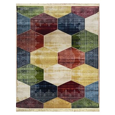 Apollo Hexago Modern Rug, 80x150cm, Multi