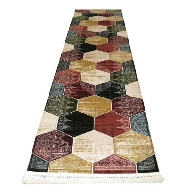 Apollo Hexago Modern Runner Rug, 80x300cm, Multi