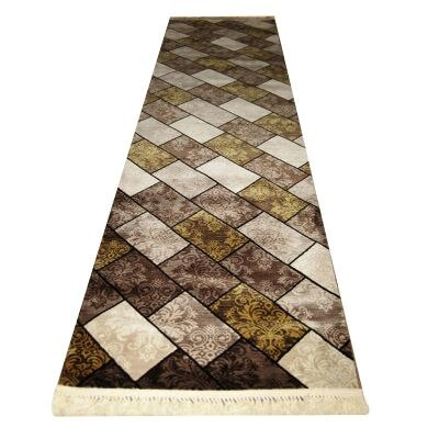 Apollo Bricks Modern Runner Rug, 80x300cm, Brown
