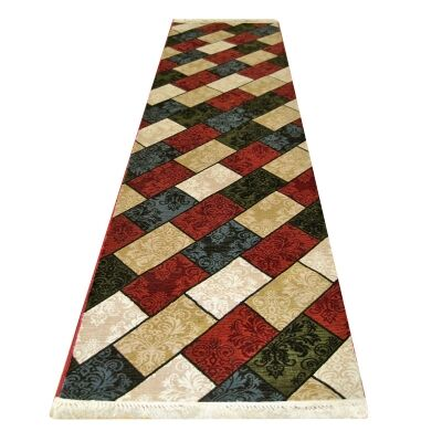 Apollo Bricks Modern Runner Rug, 80x300cm, Multi