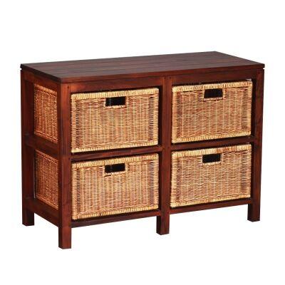Solid Mahogany Timber Storage Unit with 4 Rattan Baskets, Mahogany