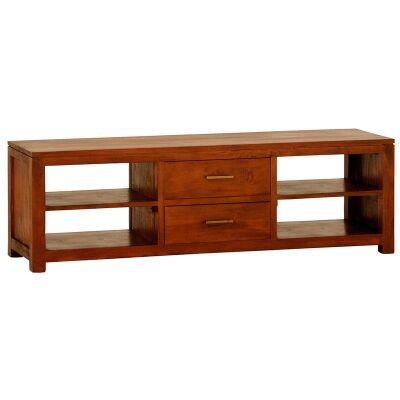 Paris Solid Mahogany Timber Middle Drawer 160cm TV Unit - Light Pecan