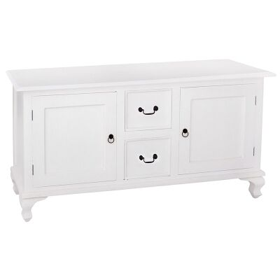 Queen Ann Mahogany Timber 2 Door 2 Drawer Buffet Table, 160cm, White