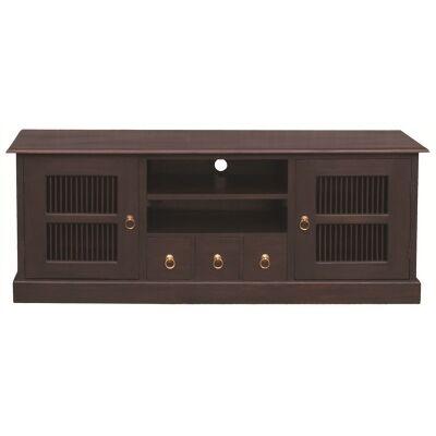 Ruji Solid Mahogany Timber 2 Door 3 Drawer 160cm TV Unit - Chocolate