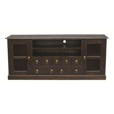 Ruji Solid Mahogany Timber 2 Door 7 Drawer 187cm TV Unit - Chocolate