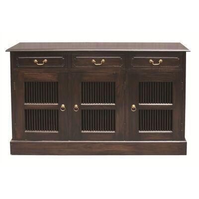 3 Drawer Slat Cupboard Solid Mahogany Sideboard