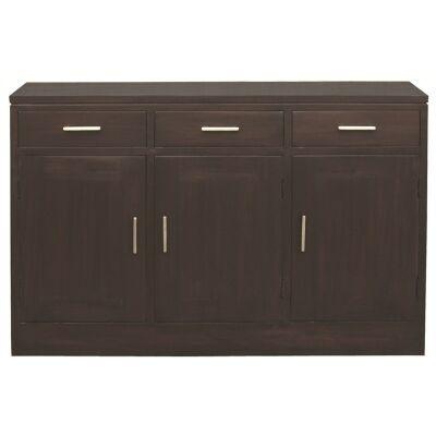 Paris Solid Mahogany Timber 3 Door 3 Drawer 138cm Buffet Table - Chocolate