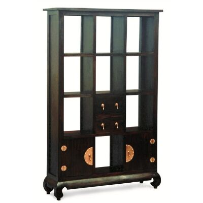Ming Solid Mahogany Timber 2 Door 2 Drawer Display Shelf / Room Divider, Chocolate