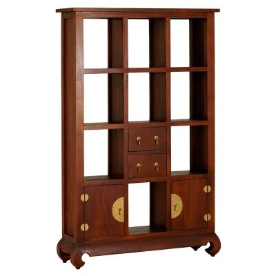 Ming Solid Mahogany Timber 2 Door 2 Drawer Display Shelf / Room Divider, Mahogany