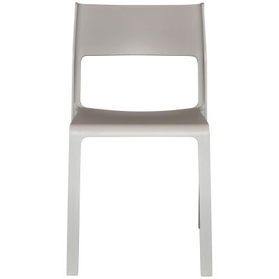 Trill Italian Made Commercial Grade Indoor / Outdoor Stackable Dining Chair, Light Grey