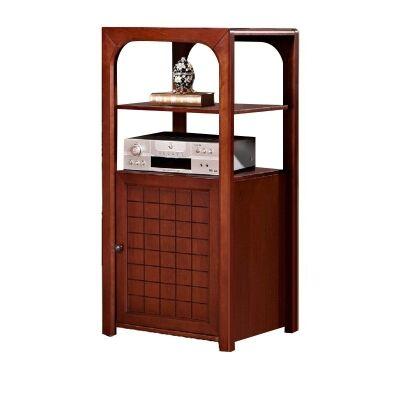 Pier Wooden Single Door Audio Storage Unit, Coffee Stain