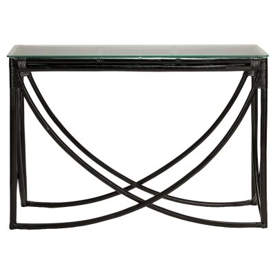 Caicos Glass Topped Rattan Hall Table, 120cm, Black