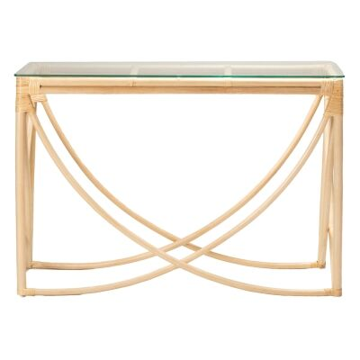 Caicos Glass Topped Rattan Hall Table, 120cm, Natural