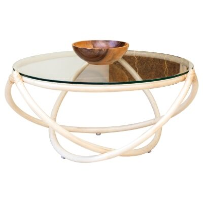 Caicos Glass Topped Rattan Round Coffee Table, 85cm, Natural