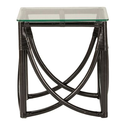 Caicos Glass Topped Rattan Side Table, Black