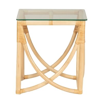Caicos Glass Topped Rattan Side Table, Natural