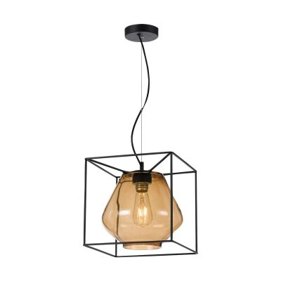 Sempre Metal & Glass Pendant Light, Amber / Black