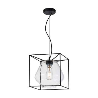 Sempre Metal & Glass Pendant Light, Clear / Black