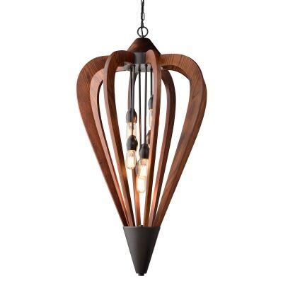 Senorita Wooden Frame Pendant Light, Large, Cherrywood